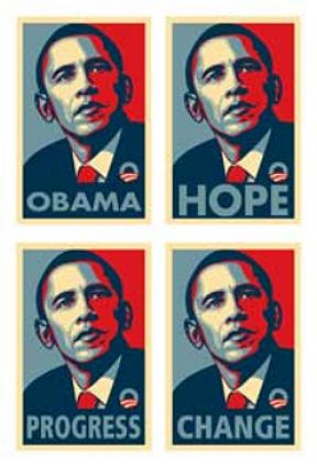 RARE BARACK OBAMA CAMPAIGN COLLECTIBLE 4 SET POSTER