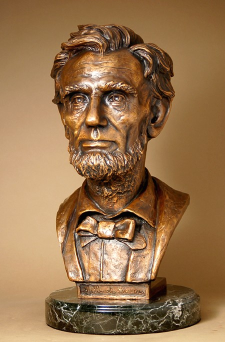 STUNNING ELEGANT BRONZE BUST OF ABRAHAM LINCOLN SCULPTURE