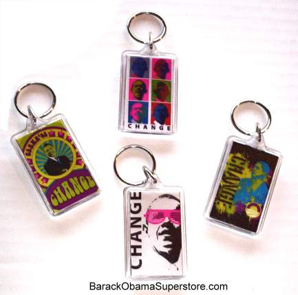COOL POP ART BARACK OBAMA KEYCHAIN COLLECTIBLE SET