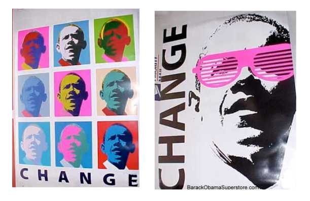 COOL POP ART BARACK OBAMA MINI POSTERS SET OF 2