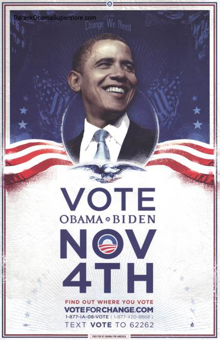 RARE BARACK OBAMA  VOTE CHANGE CAMPAIGN POSTER