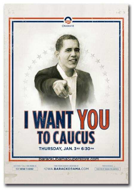 BARACK OBAMA WANTS YOU TO CAUCUS! LARGE ARCHIVAL CANVAS