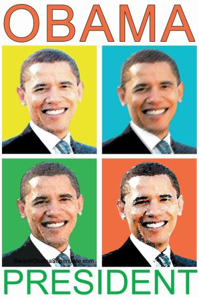 BARACK OBAMA POP ART FACES  COOL POSTER