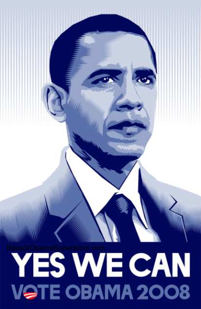 BARACK OBAMA YES WE CAN! CAMPAIGN POSTER