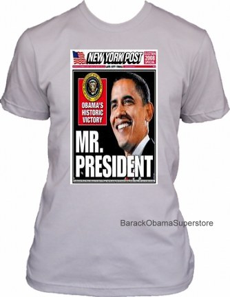 BARACK OBAMA COLLECTIBLE HISTORIC VICTORY COVER T-SHIRT
