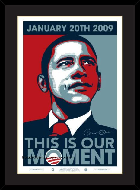 EXCELLENT FRAMED BARACK OBAMA INAUGURAL POSTER OUR MOMENT