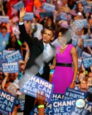 BARACK & MICHELLE OBAMA ELECTION RALLY ART PRINT