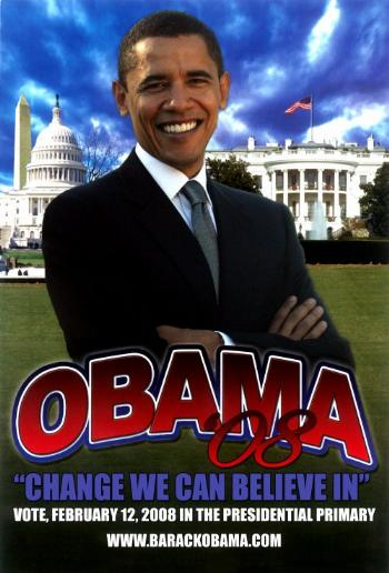 BARACK OBAMA  COLLECTIBLE PIMARY CAMPAIGN POSTER