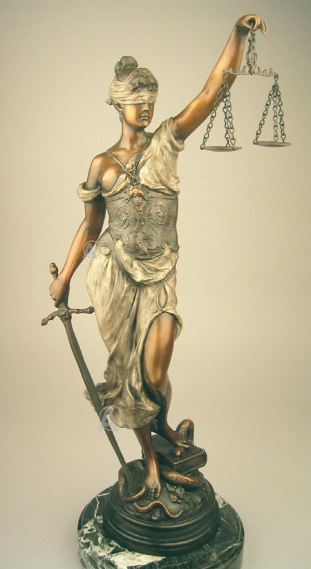 STUNNING RARE LADY OF JUSTICE BRONZE SCULPTURE MUST SEE